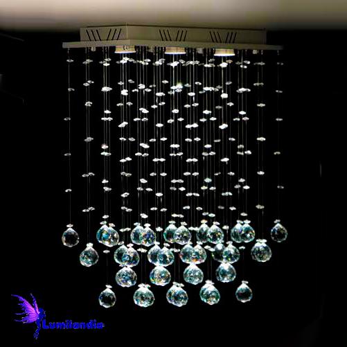 Lustre de Cristal Moderno Plafon Retangular Brumas