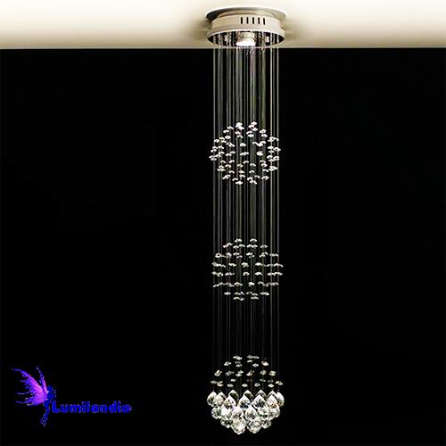 Lustre de Cristal Moderno Plafon Redondo com 3 Esferas