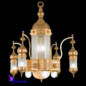 Lustre Oriental Árabe de Ouro S. Zainab para 16 lâmpadas