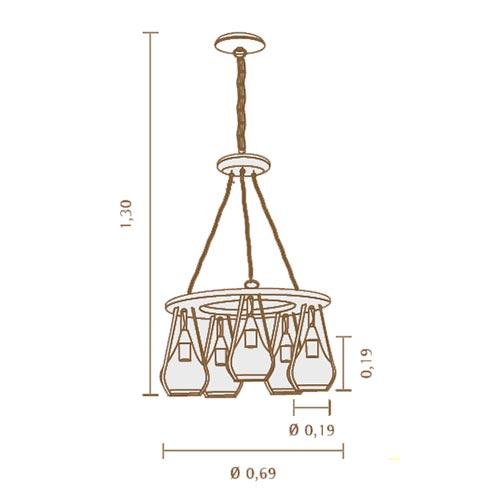 Lustre de Madeira Rústico Bells para 5 Lâmpadas - Dimensões