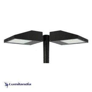 Poste Pétala Chanfrada Duplo com Refletor LED Slim 50W