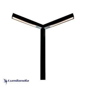 Poste de Jardim Pétala Minimalista Ludwig Duplo para Lâmpada Tubo LED - Inclinado 45° Graus