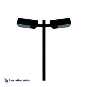 Poste Pétala Retangular Duplo para Lâmpada LED