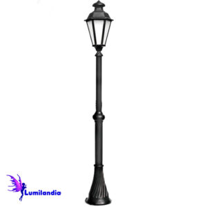 Poste de Jardim Tubo Decorado com Carretel Lanterna Verona Sextavada
