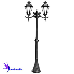 Poste de Jardim Tubo Decorado com Carretel Lanterna Verona Sextavada Duplo