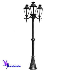 Poste de Jardim Tubo Decorado com Carretel Lanterna Verona Sextavada Triplo