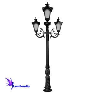 Poste de Jardim Tubo Decorado Lanterna Onda Triplo