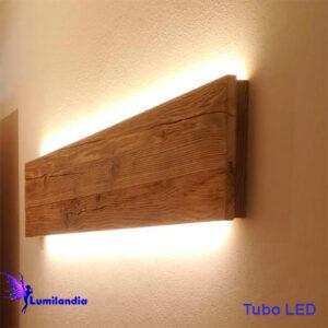 Luminária de Parede Arandela de Madeira Plata Longa para Lâmpada Tubo LED