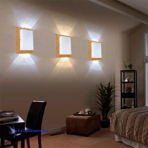 Luminária de Parede Arandela de Madeira Retangular Clean para Lâmpada LED