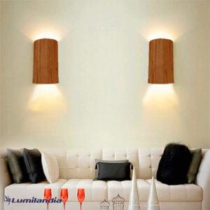 Luminária de Parede Arandela de Madeira Oval para Lâmpada LED