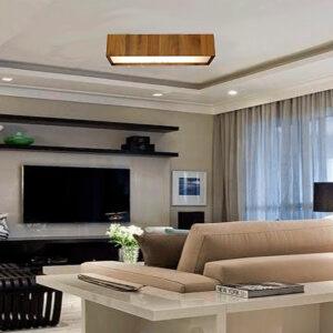 Luminária Plafon de Madeira Retangular para Lâmpada LED