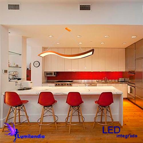 Pendente de Madeira Onda com LED Integrado