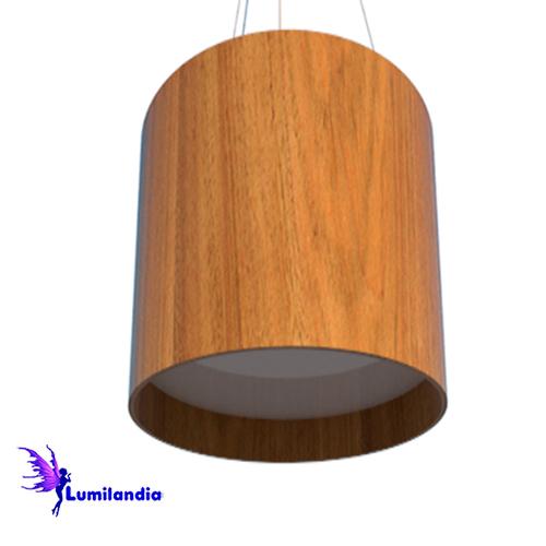 Pendente de Madeira Redondo com LED Integrado ou para Lâmpadas de LED
