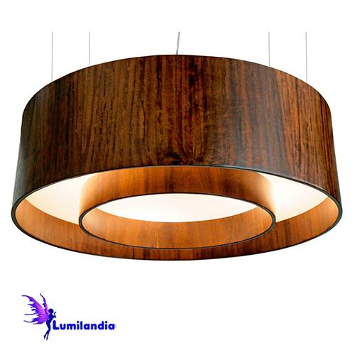 Pendente de Madeira Redondo Difusor com Aro Central com LED Integrado ou para Lâmpadas de LED