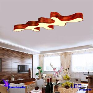 Lustre Plafon de Madeira Ameba 8 Pontas - LED Integrado