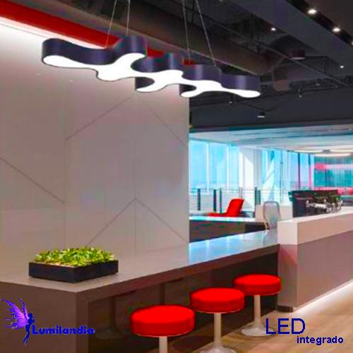 Lustre de Madeira Ameba 8 Pontas com LED Integrado