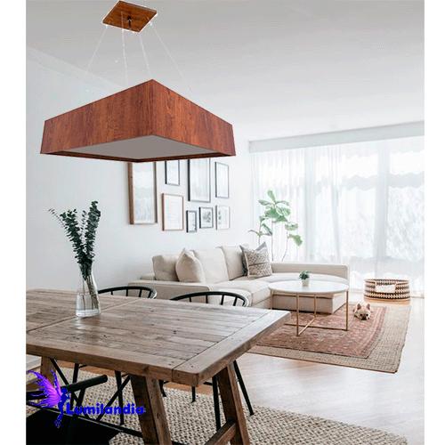 Pendente de Madeira Quadrado com LED Integrado ou para Lâmpadas de LED
