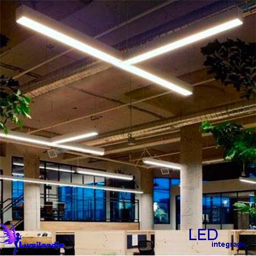 Luminária Pendente de Madeira Retangular Contínuo com LED Integrado