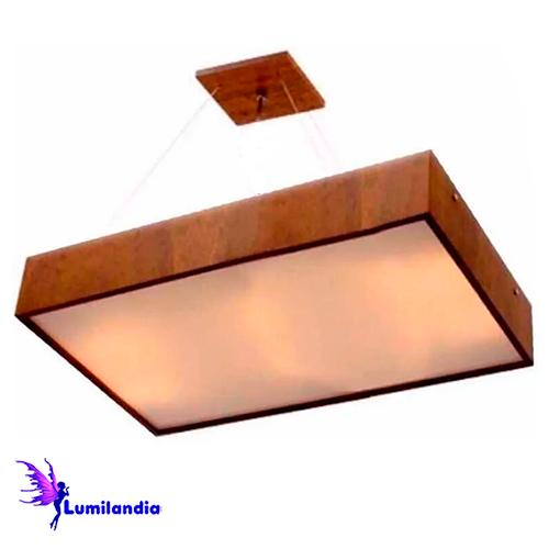 Pendente de Madeira Retangular com LED Integrado ou para Lâmpadas de LED