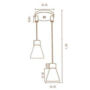Pendente Vintage para 2 Lâmpadas - Dimensões