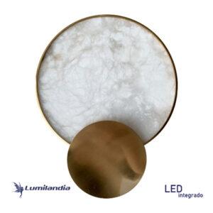 Luminária de Parede Arandela Moderna Redonda Gold Pedra Ônix com LED Integrado