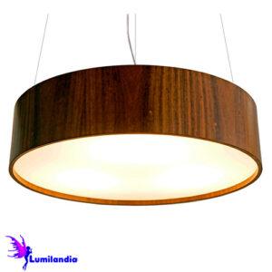 Luminária Pendente de Madeira Redondo Baixo