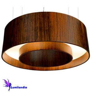 Luminária Pendente de Madeira Cilindro Vazado