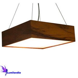 Luminária Pendente de Madeira Quadrado com Difusor Plano