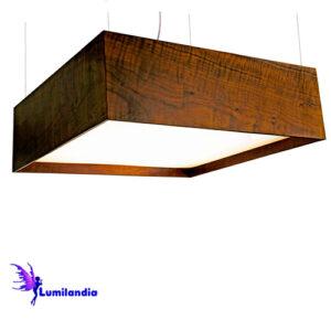Luminária Pendente de Madeira Quadrado Grande com Difusor Recuado