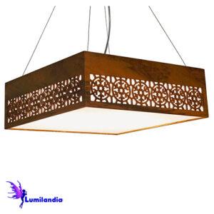 Luminária Pendente de Madeira Quadrado Flocos