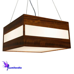Luminária Pendente de Madeira Quadrado Focus 1 Linha