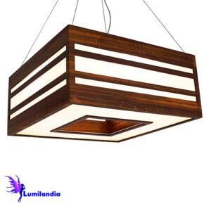 Luminária Pendente de Madeira Quadrado Focus