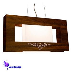Luminária Pendente de Madeira Retangular Peri