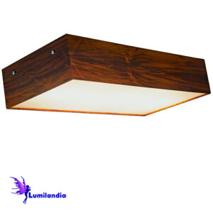 Lustre de Madeira Plafon Retangular com Difusor plano