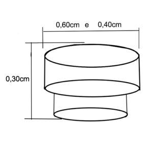 Lustre Pendente de Madeira Bolo 2 Andares - Pequeno - Dimensões