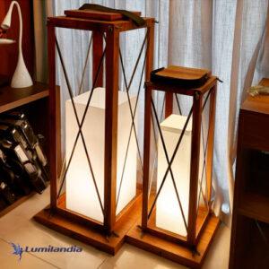 Luminária de Chão Madeira Lanterna com Difusor de Luz
